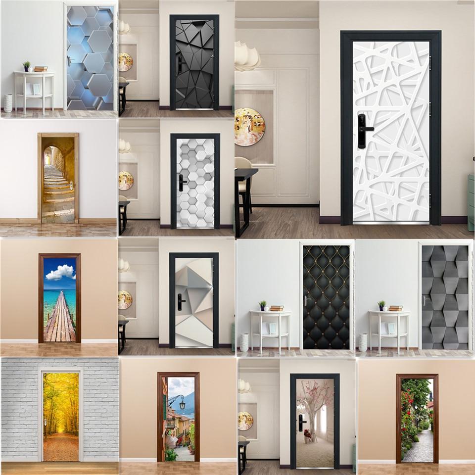 3D Door Decoration Wallpaper Modern Design Door Sticker Self-adhesive Waterproof Poster Home Door Renew Mural Decal Deur Sticker