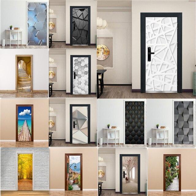 3D Door Decoration Wallpaper Modern Design Door Sticker Self adhesive Waterproof Poster Home Door Renew Mural Decal deur sticker
