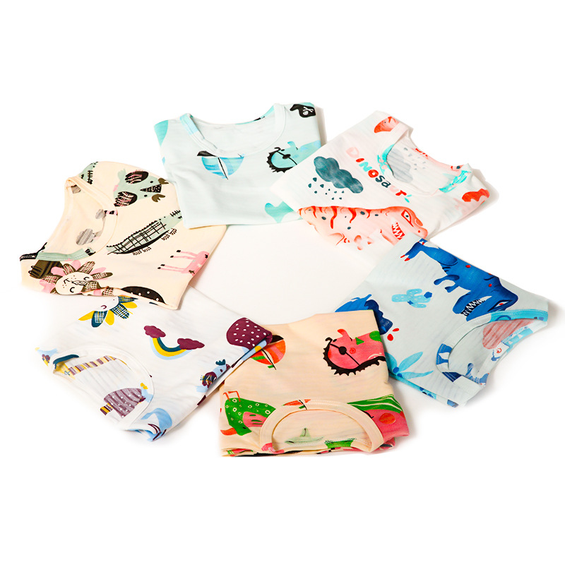 Spring And Summer Men And Women Baby Home Wear South Korea Slub Cotton 7 Points Air Conditioning Clothes Cartoon Pajamas Suit 17