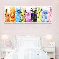 Póster de Pokemon para decoración del hogar, pintura en lienzo de Pikachu, Bulbasaur Charmander, Squirtle, arte Mural, Cuadros de Anime