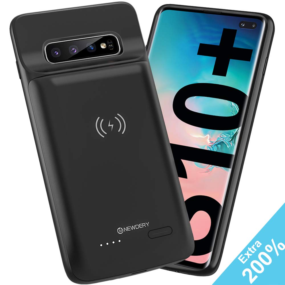 Compatible Samsung Note 9 Upgraded Galaxy Note 9 Battery Case Qi Wireless Charging Compatible Raised Bezel - Air Cushion Technology Black 10000mAh Rechargeable Extended Charger Case Newdery