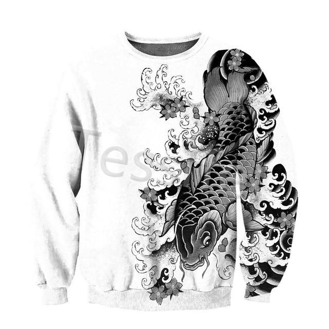 Tessffel Japan Samurai Tattoo 3D Printed New Men's Sweatshirt Harajuku Zipper Hoodie Casual Unisex Jacket Pullover Style-7 4