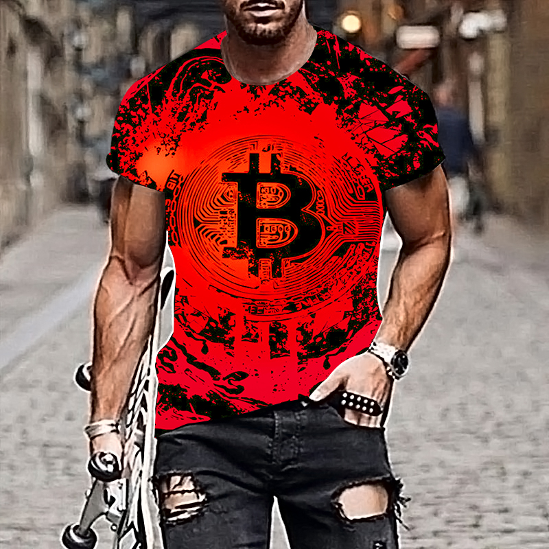 2021 Harajuku Men T-shirt Bitcoin Pattern Style 3D Printing Hip-hop Cool Handsome Plus Size Adult Clothes 2