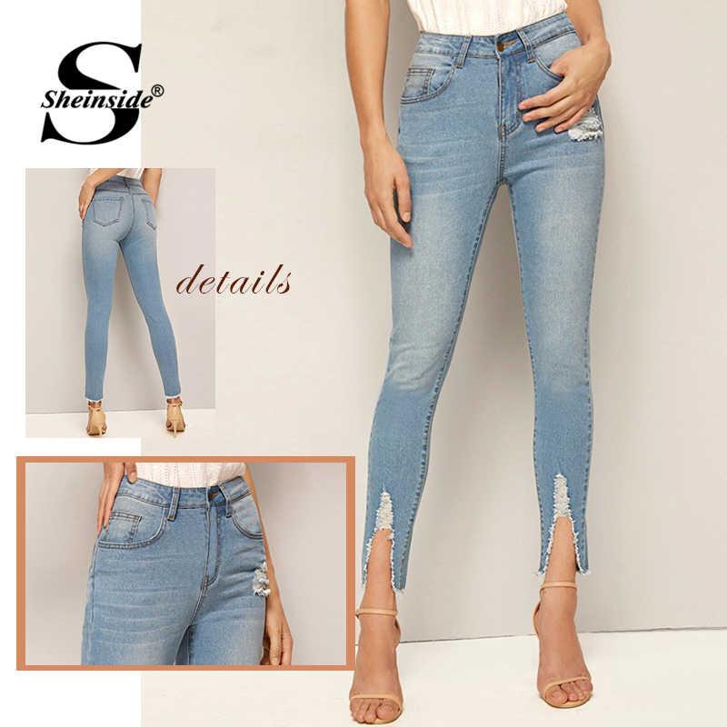 Sheinside синие с высокой талией потертый подол обтягивающие джинсы для женщин 2019 осень отбеливатель мыть укороченные брюки женские Выцветшие Джинсы-стретч