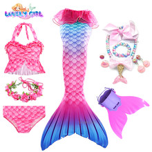 Kids Swimmable Mermaid Tail for Girls Swimming Bating Suit Beach Bikini Mermaid Costume Swimsuit can add Monofin Fin necklace
