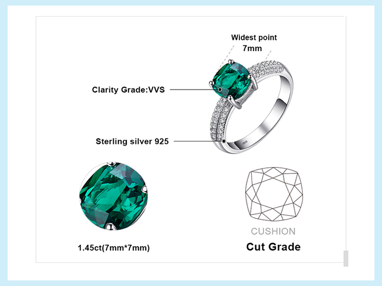 H76f9984677b841e09c15ced9767dff27d JewelryPalace Cushion Created Nano Emerald Ring 925 Sterling Silver Rings for Women Engagement Ring Silver 925 Gemstones Jewelry