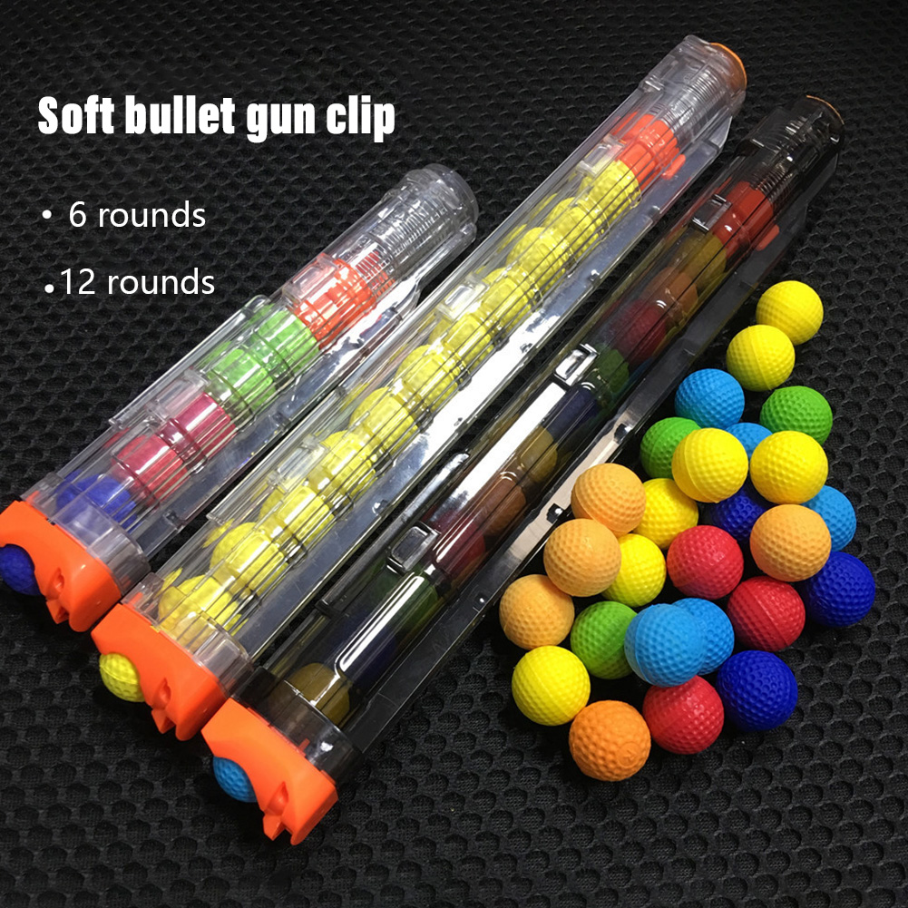 1set Ball Bullets For Rival Zeus Apollo Nerf Toy Gun Soft Round Darts With 12 Bullets Reload Clip Toys For Boys High Quality