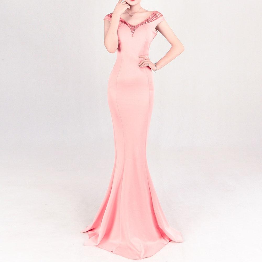 Pink Elegant Evening Dress V Neck Short Sleeves Mermaid Floor Length Beading Wedding Party Formal Gowns Evening Dresses