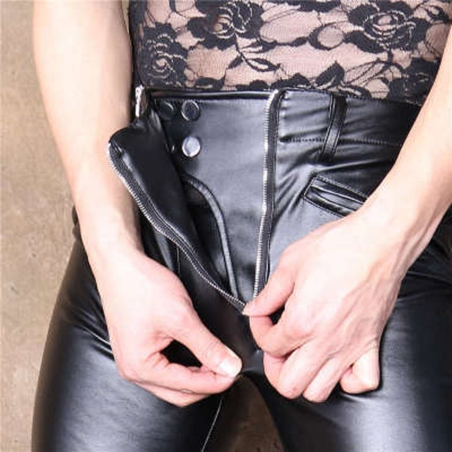 PU Faux Leather Punk Pants Elastic Tight Trousers Erotic Lingerie Fad Open Crotch Leggings Men Plus Size Look Slim Pencil Pants