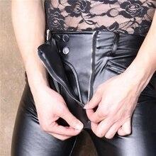 Pantalon en similicuir PU pour hommes, collant élastique, serré, Lingerie érotique, style ouvert, entrejambe, grande taille, Slim, crayon