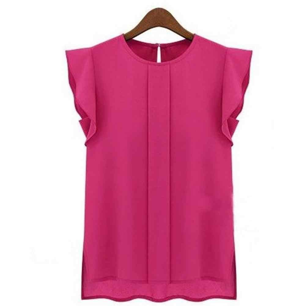 מוצק קיץ נשים שיפון חולצות מקרית loose ללא שרוולים O-צוואר femme blusas ראפלס יסוד חולצות 2019