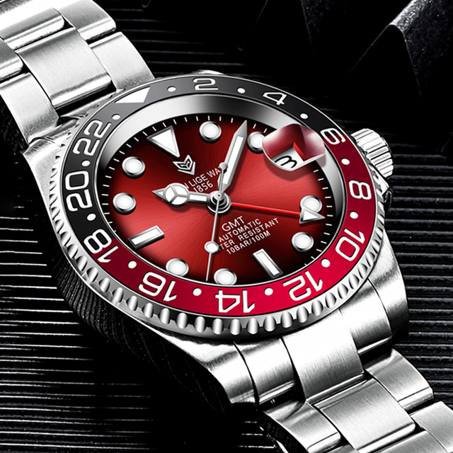 LIGE DESIGN Men GMT Automatic Mechanical Watch Ceramic Bezel 316L Stainless Steel 100ATM Waterproof Clock Sapphire Glass Watches 2