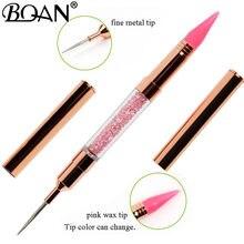 Bqan 1 pçs ouro rosa duplo-ended prego pontilhar caneta contas de cristal lidar com strass studs picker cera lápis manicure unha arte ferramenta