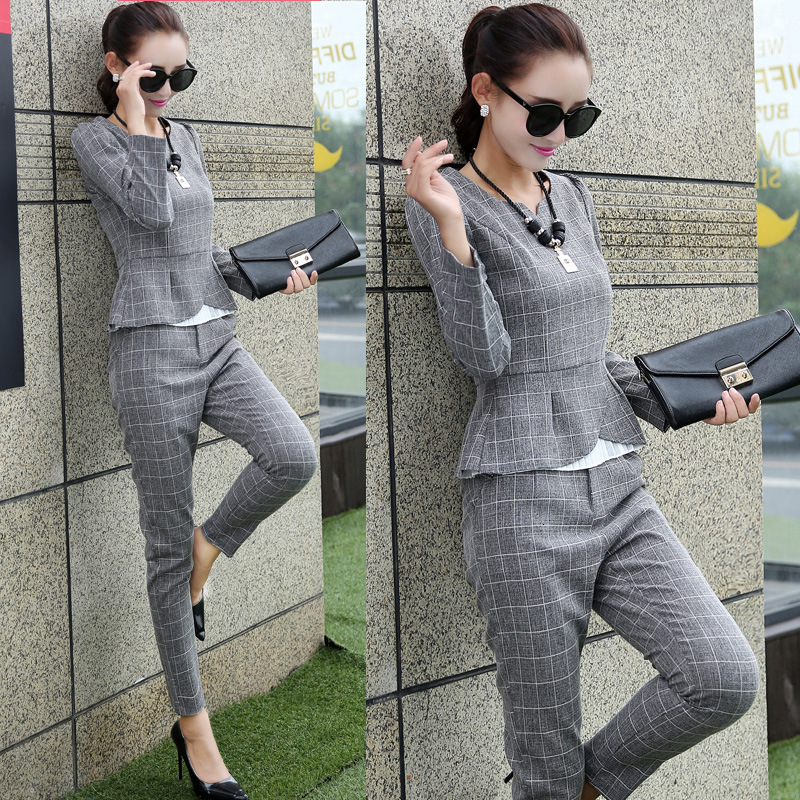 Fall Winter Plaid Office 2 Piece Set Matching Sets For Women Casual Outfits Women Shirt Trousers Suits Office Lady Workwear