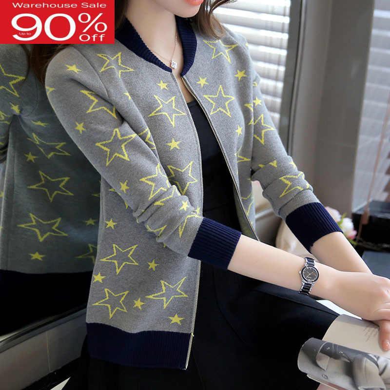 Mulheres zíper 2020 novo outono e inverno feminino camisola cardigan fino estudante de malha outerwear adolescente a35
