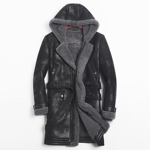 2020 Leather Jacket Men Sheep Shearling Real Fur Coat Hooded Winter Jacket Windbreaker for Mens Clothing Jaqueta De Couro