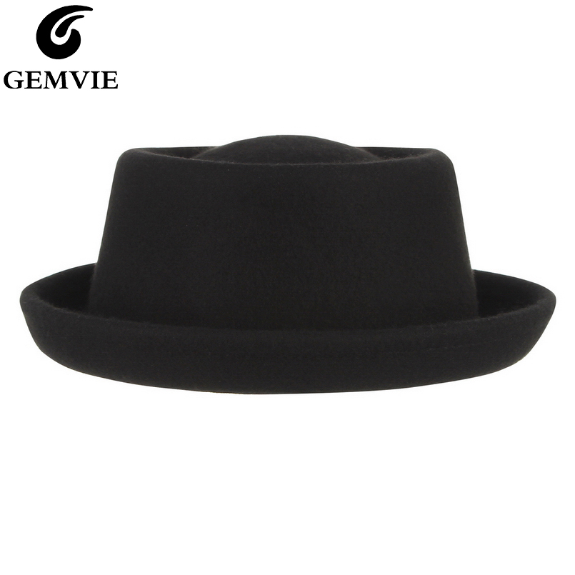 GEMVIE Classic 100% Wool Soft Felt Pork Pie Hat Fedora For Men Women Autumn Winter Wool Hat Curved Brim