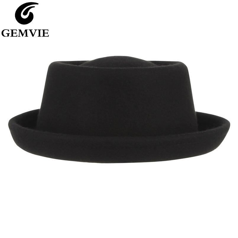 GEMVIE Classic 100% Wool Soft Felt Pork Pie Hat Fedora For Men Women Autumn Winter Wool Hat Curved Brim