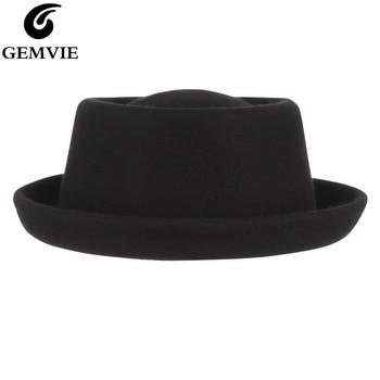 GEMVIE Classic 100% Wool Soft Felt Pork Pie Hat Fedora For Men Women Autumn Winter Wool Hat Curved Brim hat for women 100