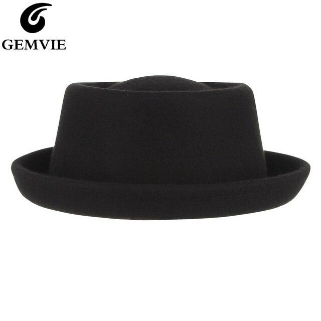 GEMVIE klasyczne 100% wełna miękki Pork Pie kapelusz Fedora dla mężczyzn kobiety jesień zimowa wełniana czapka zakrzywione rondo