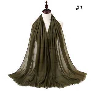 Image 5 - SHINNY גליטר מוסלמי ארוך מוסלמי hwrap טורבנים צעיפים/צעיף רגיל שמר מקסי כותנה צעיף חיג אב מוצק מצויצים