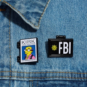 Milhouse FBI Simpsons KIRK Brooch and Enamel Pin Cartoon Figure Simpsons KIRK Foldable Brooch Set Lapel Pin Jewlery image