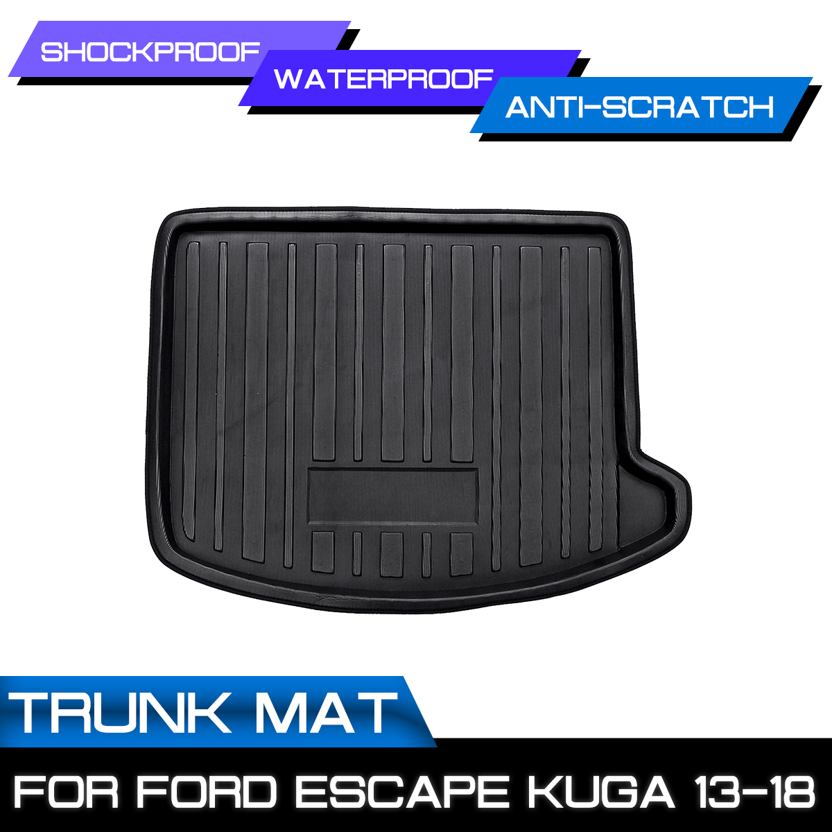 Cargo Floor Tray For Ford Escape Kuga Kick Protector Overlay 2013-2018 Carpet Mud Rear Trunk Boot Mat Liner Shock Waterproof