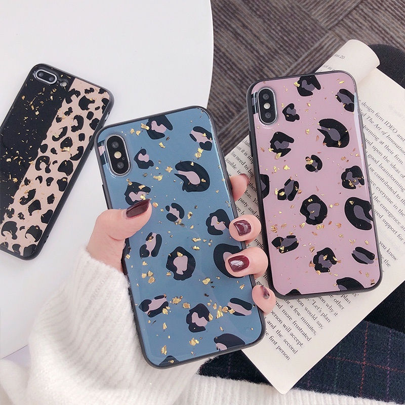 Gold-Foil-Bling-Leopard-spot-Phone-Case-For-iPhone-X-XS-Max-XR-Soft-TPU-Cover