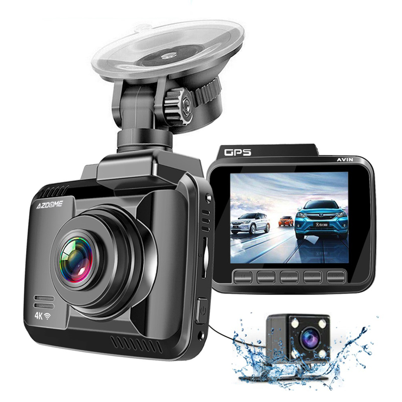 AZDOME GS63H <font><b>4K</b></font> <font><b>Car</b></font> <font><b>DVR</b></font> Speed Coordinates Dash Cam WiFi Night Vision Auto Mirror Vehicle <font><b>Recorder</b></font> Dual Lens Camera Support GPS image
