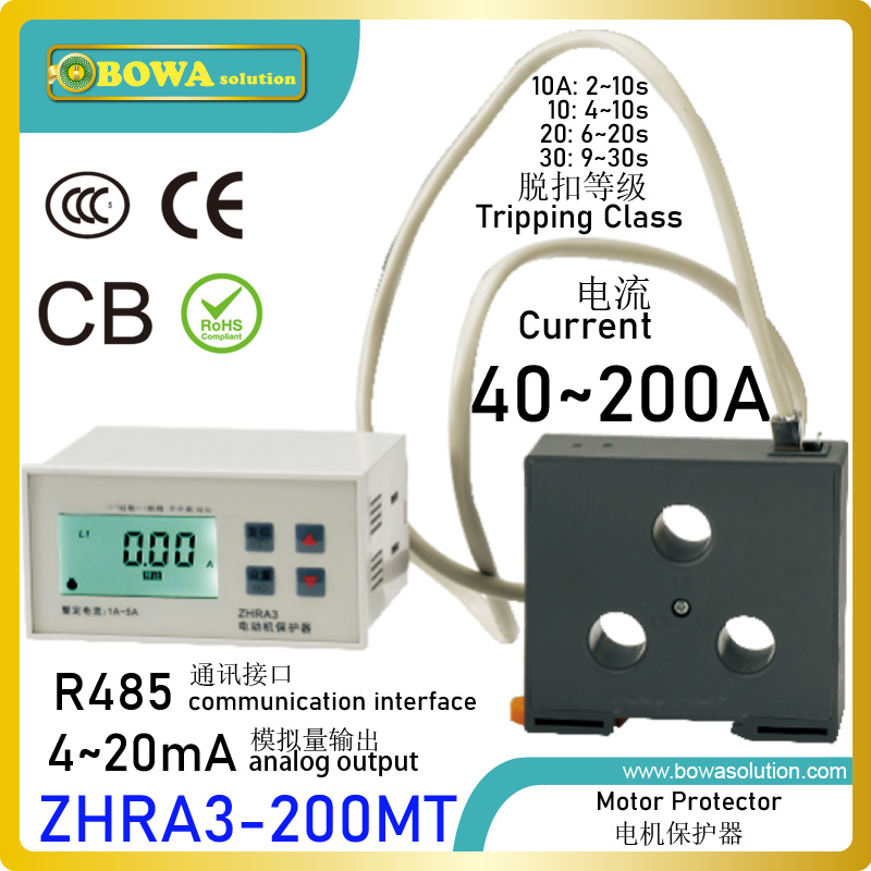ZHRA3 200MT motor protector with RS485 port & 4 20mA output make sub systems of screw compressor chiller dynamic heat balance Air Conditioner Parts Home Appliances - title=