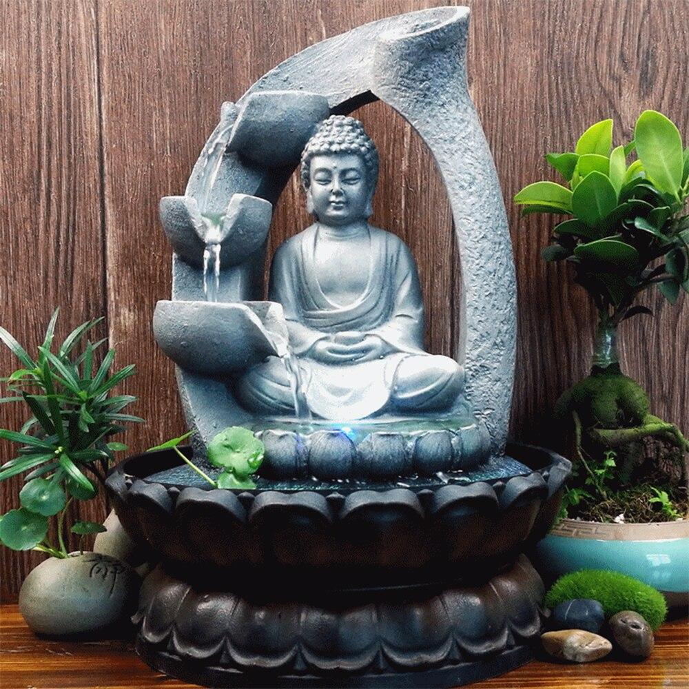 30CM 110V décorations pour la maison résine coulant l'eau cascade fontaine bouddha Statue chanceux Feng Shui ornements paysage décors