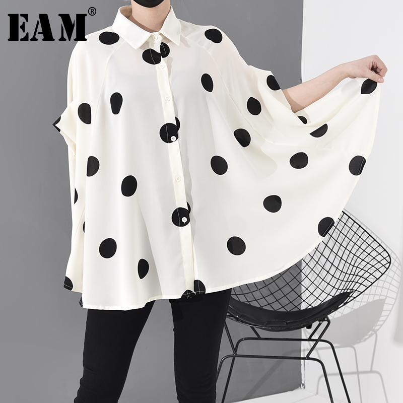 [EAM] Women Dot Printed Stitch Big Size Blouse New Lapel Long Sleeve Loose Fit Shirt Fashion Tide Spring Summer2020 JW576