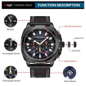 Image 5 - Megir 新軍事スポーツは、男性の高級革ストラップ防水クォーツ時計の男性トップブランドクロノグラフ腕時計 2128