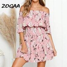Zogaa новое летнее платье для женщин Бохо с вырезом лодочкой