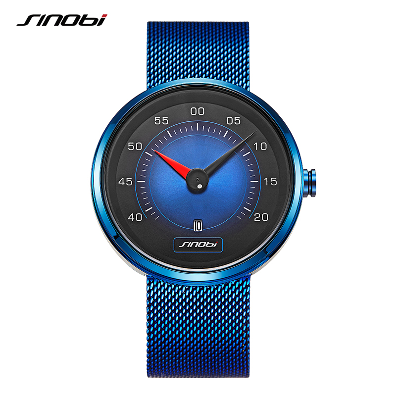 SINOBI Car Dashboard Blue Men Watch Man Watches Fashion Speed Sports Quartz Wristwatches Drive Calendar Men Stainless Steel