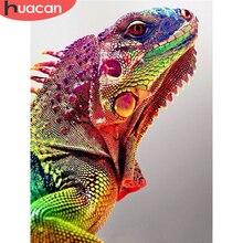 HUACAN-Cuadro de camaleón elaborado con diamantes de imitación, 5D, mosaico, decoración del hogar, arte