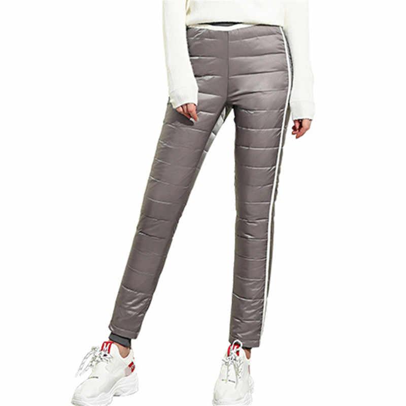 2019 冬両面 80% ニーホワイトダックダウンパンツ女性暖かいファッションスリムセクシーなペンシルパンツ冬のズボン女性プラスサイズ s-4XL