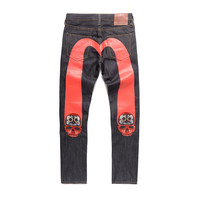 2021 Evisu Top Quality Casual Fashion Red Big M Men's Pants Printed Breathable Classic Men's Jeans Warm Straight Men's Trousers