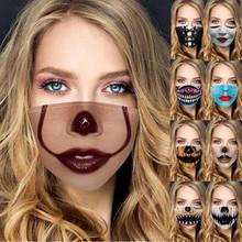 1pc Unisex halloweenowym nadrukiem tkaniny twarzy maski na usta zmywalny ściereczka wielokrotnego użytku maska straszne śmieszne maski imprezowe regulowany Mascarar tanie tanio CN (pochodzenie) Dla dorosłych Face Cover Poliester masks masque kids face maks mask for face women mascarilla maske mascara facial lavable