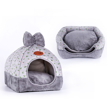 High Quality Pet Cat Tent House Kennel All Seasons Bed Dogs Dirt-resistant Soft Bed With Bow Washable Cushion image