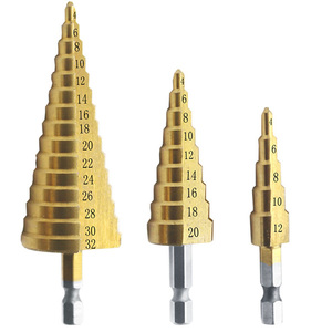 Image 3 - 4 12/20/32mm 3 sztuk wiertło stopniowe Unibit Titanium HSS stalowe wiertło stożkowe rozwiertak przemysłowy zestaw sześciokątny zestaw otworów frezy
