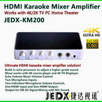 Portable Digital Stereo Audio Echo System Machine HDMI Karaoke Mixer Amplifier with 2Mics Works with 4K/2K TV PC Home Theater