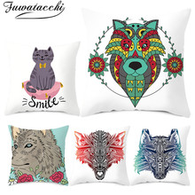 Fuwatacchi Wolf and Cat Pattern Cushion Pink Flamingos Covers Pillows Cover Polyester Pillowcase for Home Sofa Decorative Pillow