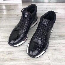 Otoño/Invierno estilo auténtico piel de cocodrilo Real del vientre de los hombres zapatillas de deporte Casual cuero de cocodrilo genuino masculino con cordones Zapatos altos