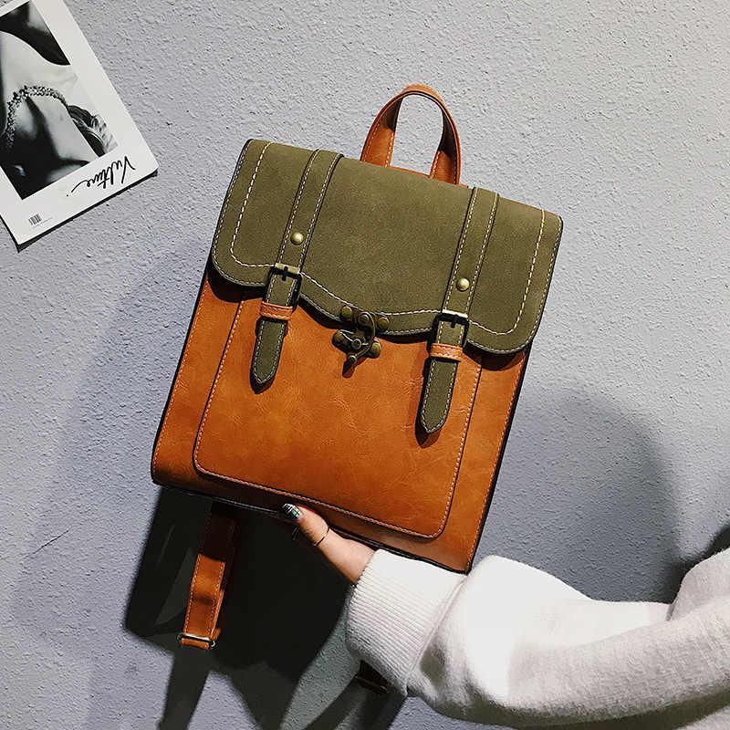 LISM 2019 nueva mochila retro de cuero pu de Inglaterra para mujer, simple, de múltiples usos, mochila para estudiantes