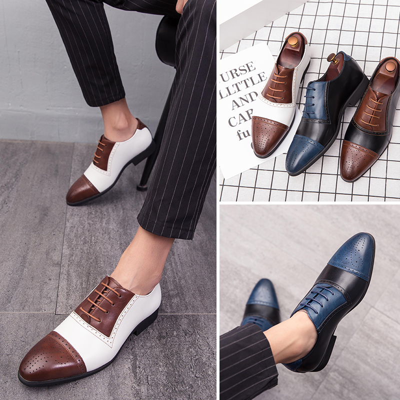 Brand Pointed Toe Men Shoes Business Men Office Formal Leather Shoes Mixed Color Fashion Gentleman Casual Footwear Size 38-48