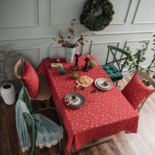 Simanfei Tablecloth Christmas Red Gold Stamping Table Cover Printed Cotton and Linen Festival Rectangle Cloth For Home