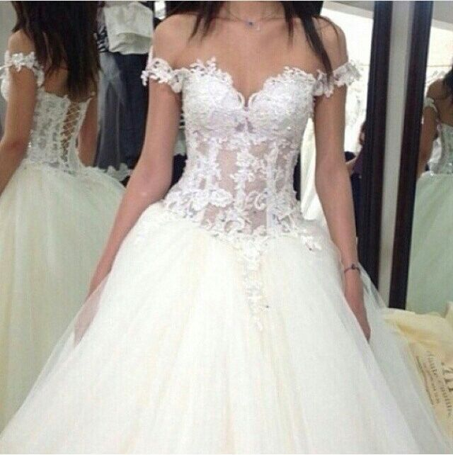 Glamorous Sweetheart Off The Shoulder Short Sleeve Sheer Appliqued Beaded Tulle Novias De Vestidos Wedding Dresses