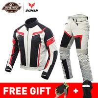 DUHAN Summer Motorcycle Jacket Man Riding Jacket + Motorcycle Pants Suit Breathable Mesh Jacket Moto Pants Suit 9 Style