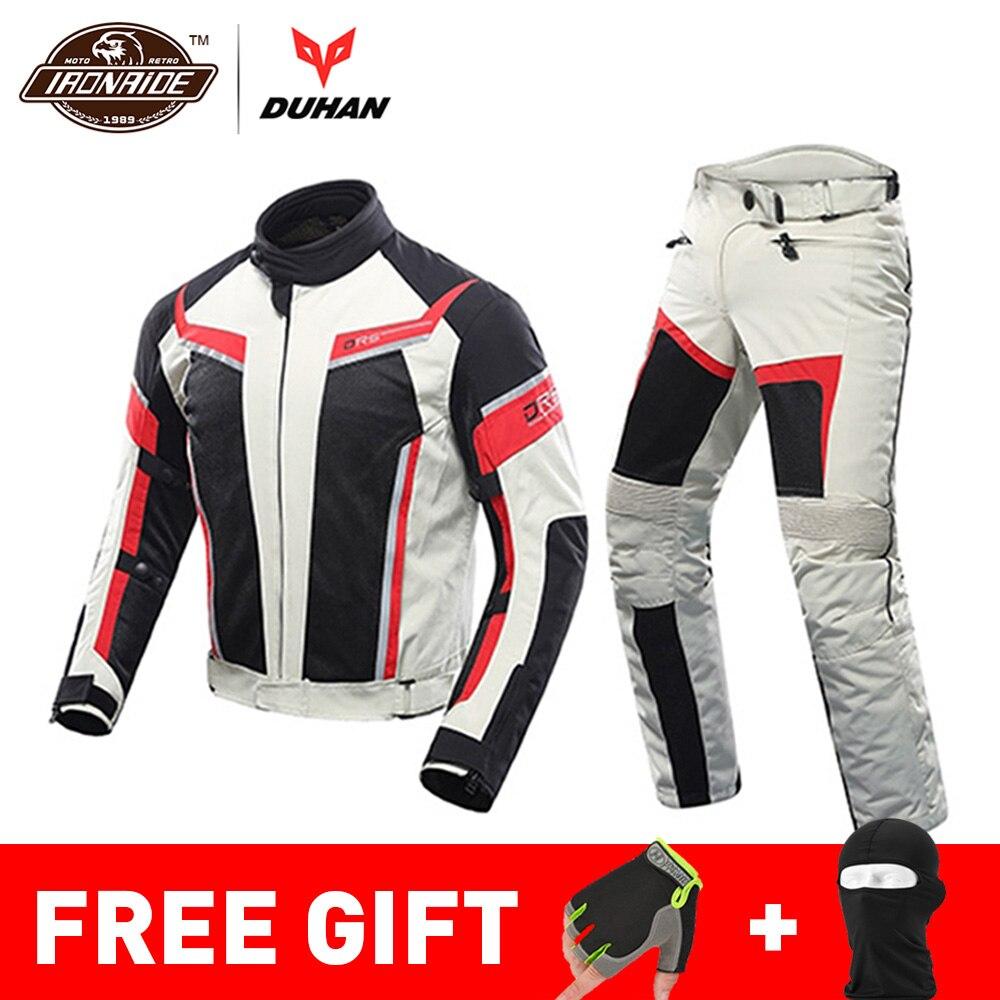 Duhan jaqueta de verão da motocicleta homem equitação jaqueta + calças da motocicleta terno malha respirável jaqueta moto calças terno 9 estilo